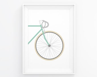 Bike Decorations, Cycling Poster, Travel Art, Gifts For Cyclists, Bicycle Art, Bicycle Gift, Bicycle Wall Art, Traveler Gift, Bike Decal