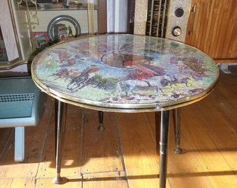 Mid-century ROUND COFFEE TABLE + Waddingtons Horse Puzzle Top! Retro Atomic 50s