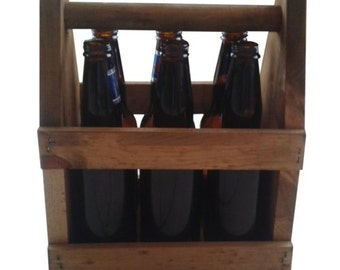 6 pack wooden beer carrier, old style, vintage look, in wood