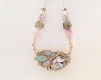 Pastel Necklace - Gemstone Necklace - Long Beaded Necklace - Light Pink Necklace - Mint Green Necklace - Mint Jewelery - Mint Gems - Spring