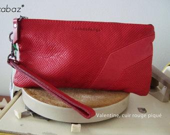 Pochette, petit sac, en cuir ROUGE, avec sa dragonne