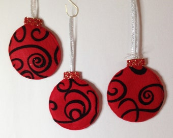 Christmas Ornaments, Felt Christmas Balls,Set of 3,Christmas Decorations, Felt Ornaments, Christmas Decor, Red Balls, Gift CTO108
