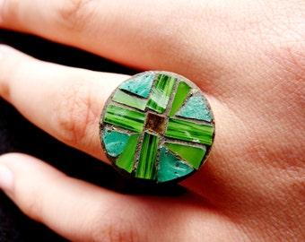 Mosaic round ring