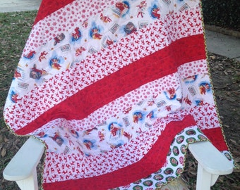 Elf on the Shelf Baby Quilt. Baby Blanket. Elves, Snowflakes, Deer. Backside is red with white snowfkakes.