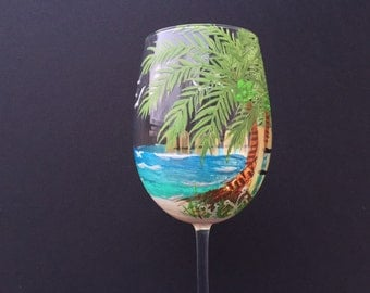 A set of 2, Beach-themed, Painted Wine Glasses. Great as toasting glasses for Beach Weddings/bridesmaids/hostess gifts. Special promo price!