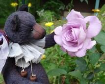 Deep Purple Violet Artist Teddy bear vintage antique style. Stuffed Collectible large teddy bear. Keepsake gift, handmade OOAK toys