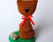Crocheted brown cat Crochet Amigurumi Doll Kitten Kitty