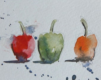 "Original Miniature Watercolour Painting, ""Loose Peppers"", Red Green Orange peppers, ACEO, Kitchen Decor, Kitchen Art, Home Decor, Gift Idea"