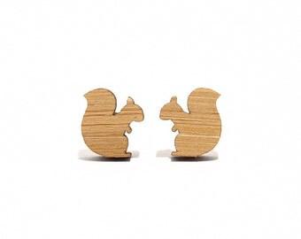 Squirrel Bamboo Stud Earrings, Squirrel Earrings, Squirrel Studs, Squirrel Jewellery, Fall Earrings, Cute Woodland Earrings, Post Earrings
