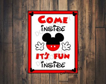 Mickey Mouse party decorations, Mickey Mouse birthday, Mickey Mouse, Mickey Mouse party sign, Come inside it's fun inside, INSTANT DOWNLOAD