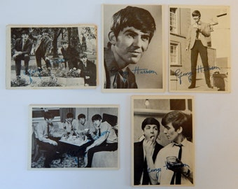 1964 Series 1 Beatles Trading Cards (5 George Harrison facsimile signed cards)
