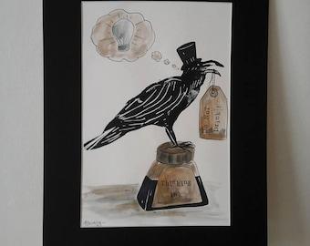 Raven art~raven print~raven illustration~raven lino cut~lino print raven~lino print~block print~raven~raven picture~printed raven~lino cut~
