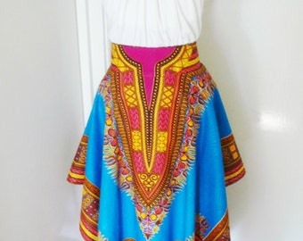 SAMPLE SALE - 40% OFF - Turquoise Angelina Dashiki Handkerchief Skirt, Dashiki Maxi Skirt – One of a kind