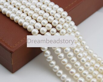 8-9mm White Round Rondelle Beads, Freedom High Quality Oblate Loose Pearl Spacer Beads for Necklace Bracelet Making (XMZ49)