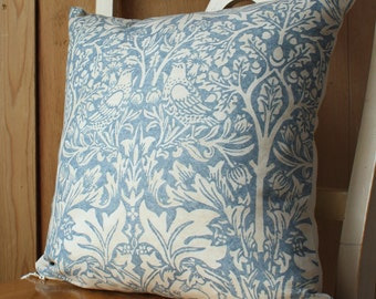 William Morris Brer Rabbit Arts and Crafts Cushion Cover Blue