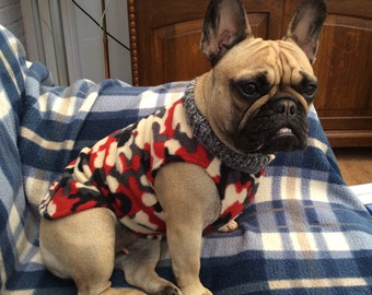Red,Grey And Cream Camouflage  French Bulldog Coat