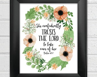 INSTANT DOWNLOAD Bible Verse Printable, Scripture Print, Christian wall art, inspirational quote She confidently trusts the Lord Psalm 112:7