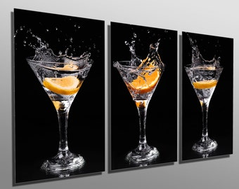 Metal Prints - Martini Drinks with Orange - 3 Panel split, Triptych - Metal wall art on HD aluminum prints for wall decor & interior design.