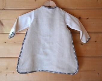 Bib apron organic flax, organic cotton bib, bib large format, long sleeve bib, bib pressure, DME, autonomous baby bib, baby bio