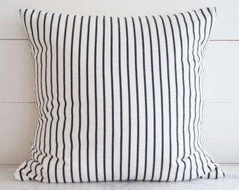 Striped Black White Modern Throw Pillow Cover 20x20