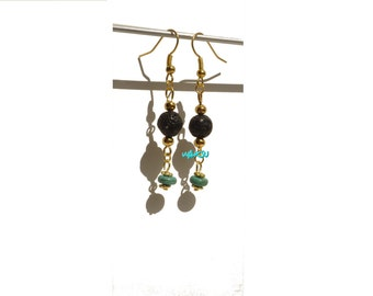 Earrings with lava stone and turquoise beads