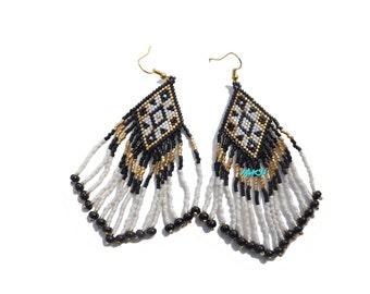 Handmade woven seed beads earrings
