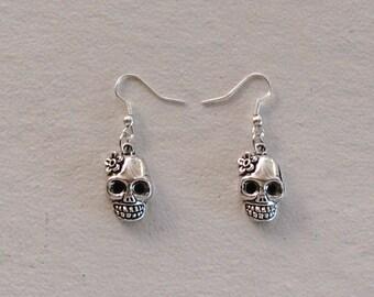 Sugar Skull, Dia de los Muertos, silver-plated hypo-allergenic earrings