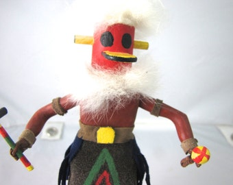 """Vintage Kachina Katsina Doll, Bird, Figurine, Native American Style, 9"""", Leather & Feather. Hand Carved, Hand Painted, Free Shipping"""