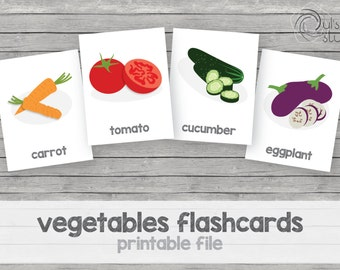 Printable kid's vegetables flashcards, english