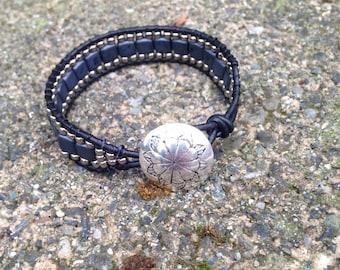 Slate and silver wrap bracelet