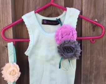 Baby Girl Singlet with shabby flower embellishment and matching headband - Size 0000  Newborn