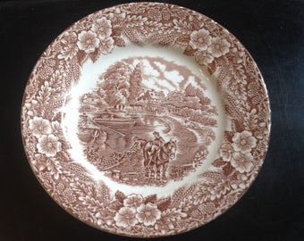 SET of 4 vintage (c.1970s) Broadhurst The Constable Series brown ironstone bread-and-butter   tea plates.