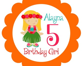 Hula Girls Birthday Party Personalized T Shirt Iron On Transfer for Girls