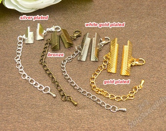 10 Sets Of Antique Silver Ribbon Crimp Ends With Extended Chain And Lobster Clasp,Fasteners Clasp Ribbon Crimps Gold Ribbon Clasp