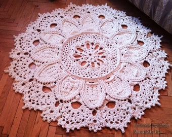 Crochet rug 3D 57 in. Bed side  and Baby rug Round floor lace living room mat. Wedding gift, birthday gift, area rug