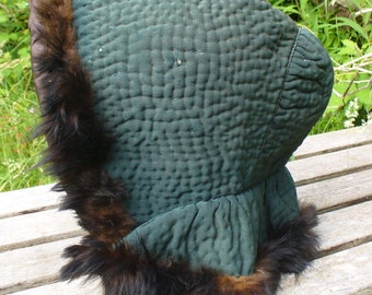 Quilted hood bonnet Regency c1820 early-mid 19th century teal handstitched