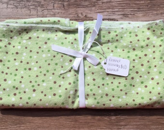 Green Polka Dot Flannel Receiving Blanket