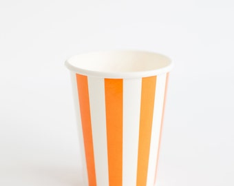 10 Orange vertical stripes paper cups