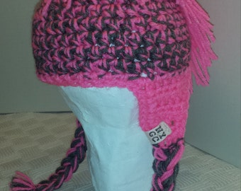 Hot Pink and Gray Mohawk Hat