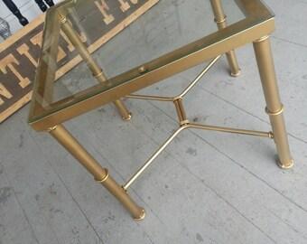 Sale Vintage furniture living room end table hollywood regency gold glass top bamboo