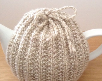 Beige tea cosy, cream hand knitted tea cosy, small teapot cover, large teapot cozy, natural colour hand knit tea cosy, made in UK