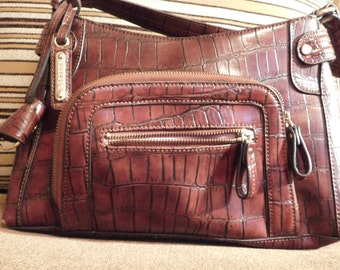 Purse Liz Claiborne Alligator Print Brown Leather with Zippered Fold-Out Pocket and Attached Keyring