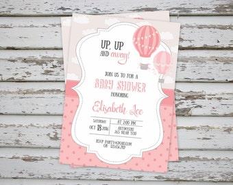Hot Air Balloon Baby Shower Invitation, Up Up and away Baby Shower Invitation, Pink Baby Shower Invite, Hot Air balloon party