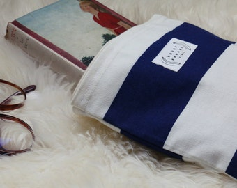 Blue and white striped cotton pouch