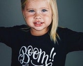BOOM! - Children's Black & White Graphic Tee Shirt - Size 6 - Short Sleeved - Hand lettered for DearSeed Kid T-shirt - Dear Seed
