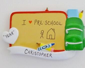 Personalized Pre-School Ornament - Personalized I Love Pre-School Christmas  Ornament