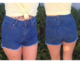 dark blue distressed high waisted short shorts