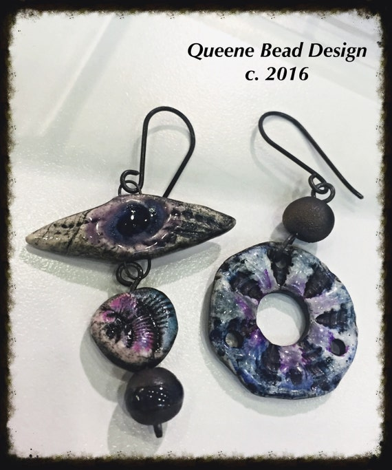 Eclectic Boho Ceramic Earrings by Queene Bead Design