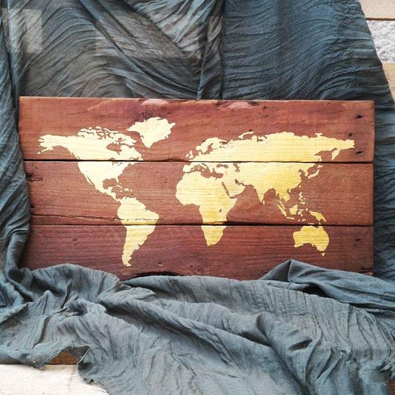 articles similaires carte du monde bois r cup r palettes bois dor peinture fait. Black Bedroom Furniture Sets. Home Design Ideas