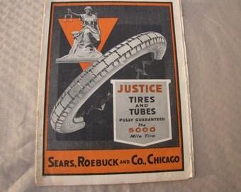 Original 1917 Or 1918 Sears Roebuck Justice Tires Catalog Auto Accessories Parts